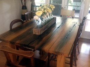 Bespoke Dining Table made from Canal Lockgate wood - now in Australia!
