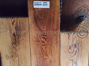 Burnt Oak Floorboards from reclaimed timber