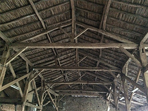 The wonderful aged timber in a French Barn