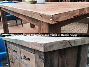 Reclaimed Pine Sideboard and Table with Rustic Finish