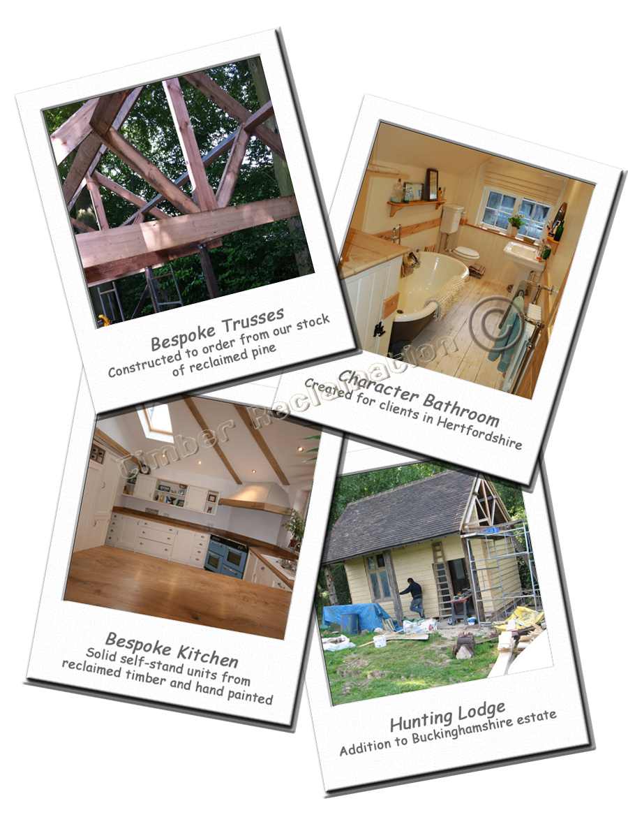 Bespoke Design Projects using reclaimed materials to add Value and Character to Homes, Offices and Gardens exampes shown include: Bespoke Kitchen; Trusses made to order; Period Bathroom and Hunting Lodge. All crafted from reclaimed timbers.