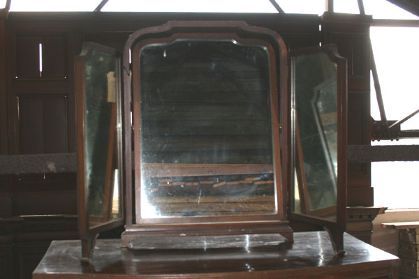 For SALE :Late 19thC Mahogany Triptych Mirror