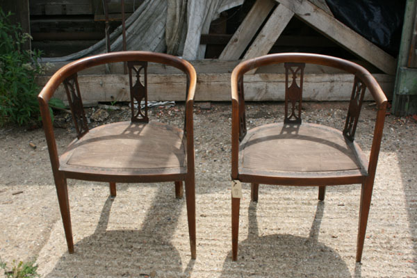 For Sale Pair of Edwardian Tub Chairs with Inlay