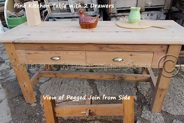 for sale solid pine kitchen table with 2 drawers
